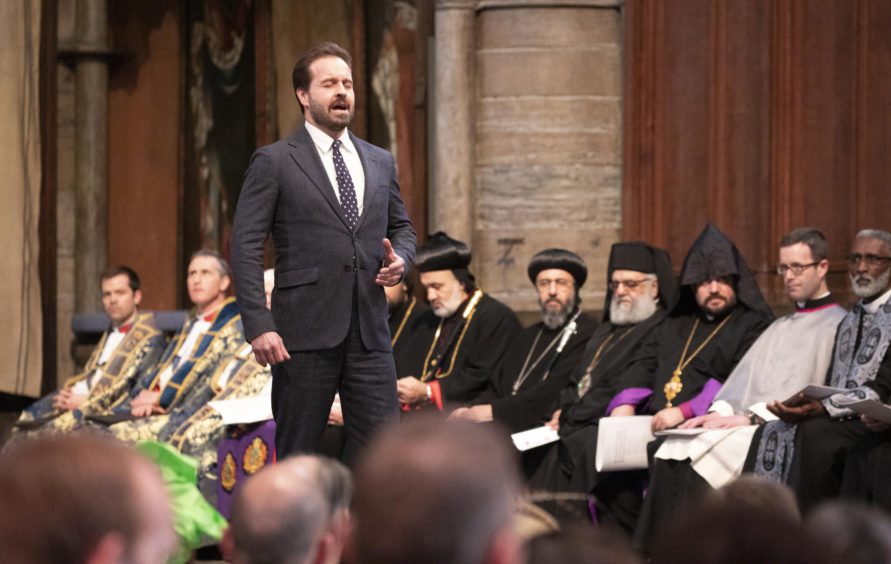 Tenor Alfie Boe performs at the Commonwealth Service.