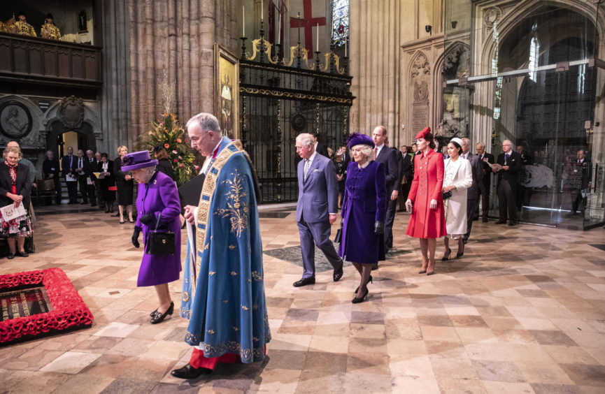 Queen Elizabeth II leads the Royal family in procession at the Commonwealth Service at Westminster Abbey, London.