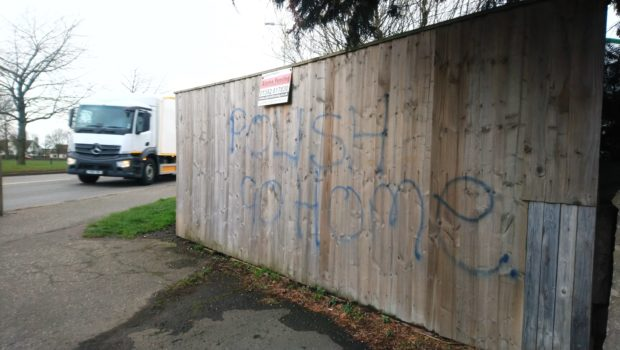 One of the messages has been spray painted on a fence on Arbroath Road