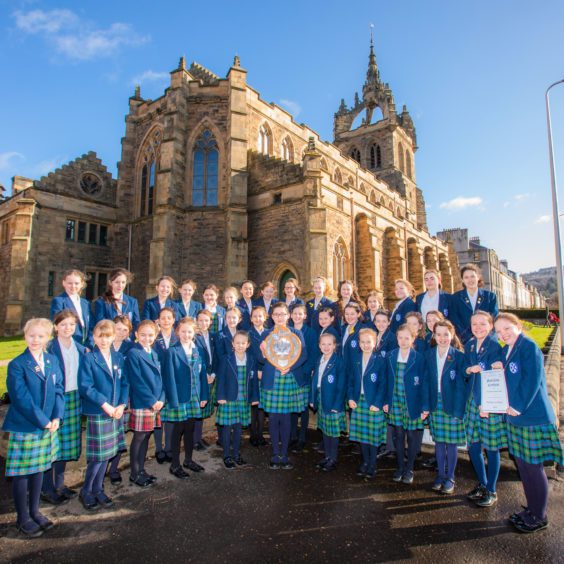 Kilgraston School's Junior Years Choir, awarded the Challenge Shield from Perthshire Church Choir Union for Choir Primary Schools with a roll of not more than 100 class. St Leonard's in the Fields Church, Marshall Place, Perth.