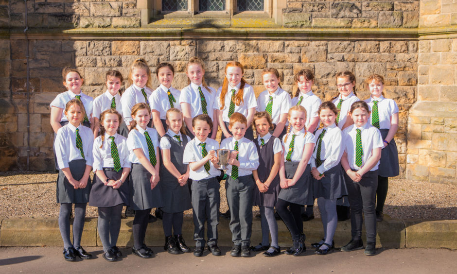 Choir classes.  St Dominic's RC Primary School (Crieff), winners of The Late Robert Brough Challenge Cup for Choir - County, Primary Schools in Perth and Kinross (excluding Perth City) class.