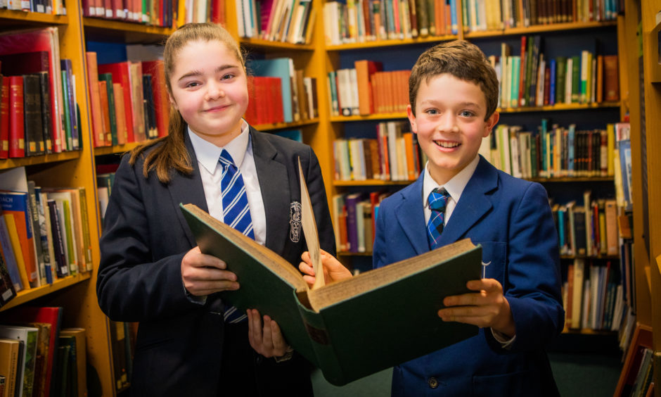 Reading Classes. Honor Paul (left, from Perth Academy) and Rafferty Howison (right, Craigclowan) were joint 1st place in the Prepared Reading, aged 11 or 12. AK Bell Library, York Place, Perth.
