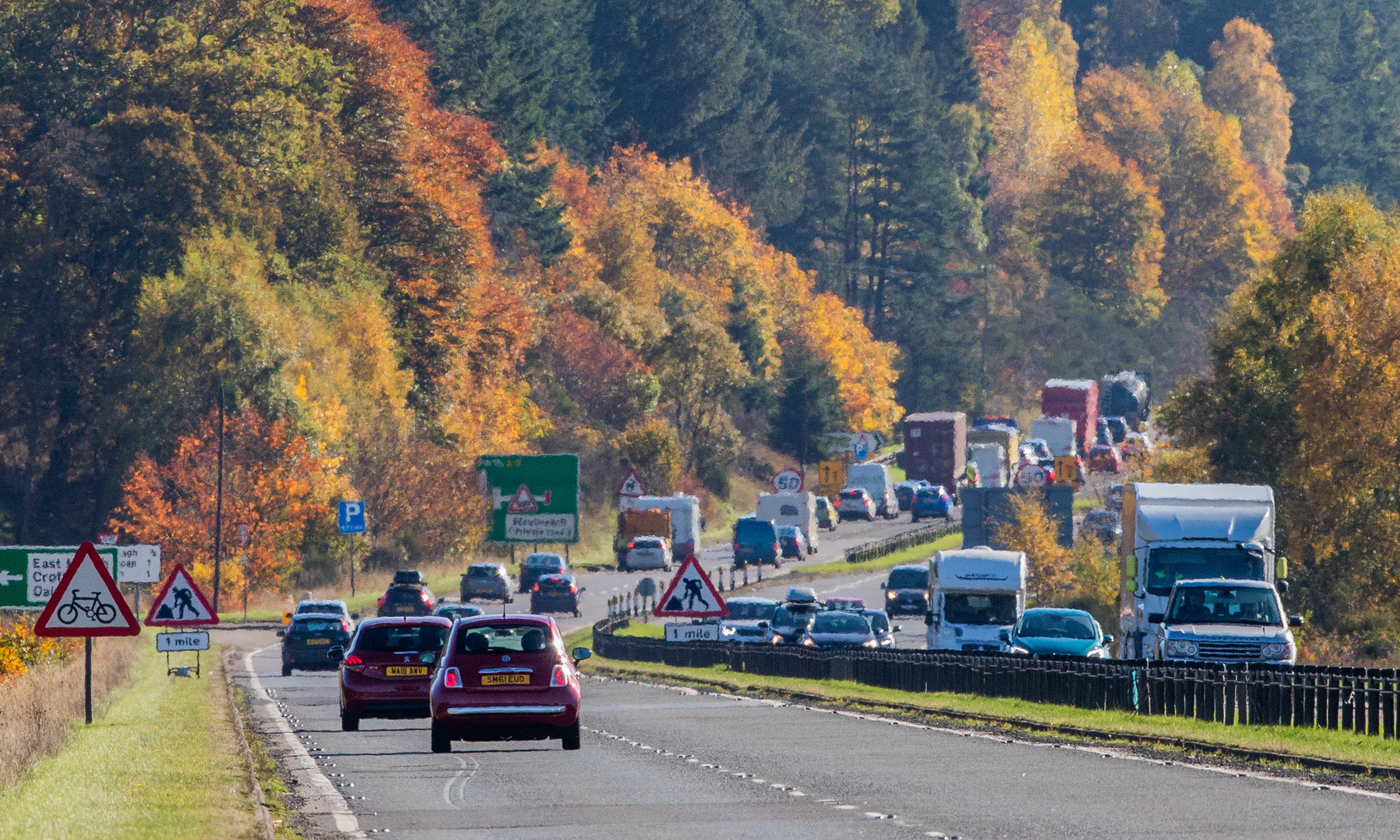 The A9 Southbound, between Pitlochry and Ballinluig.