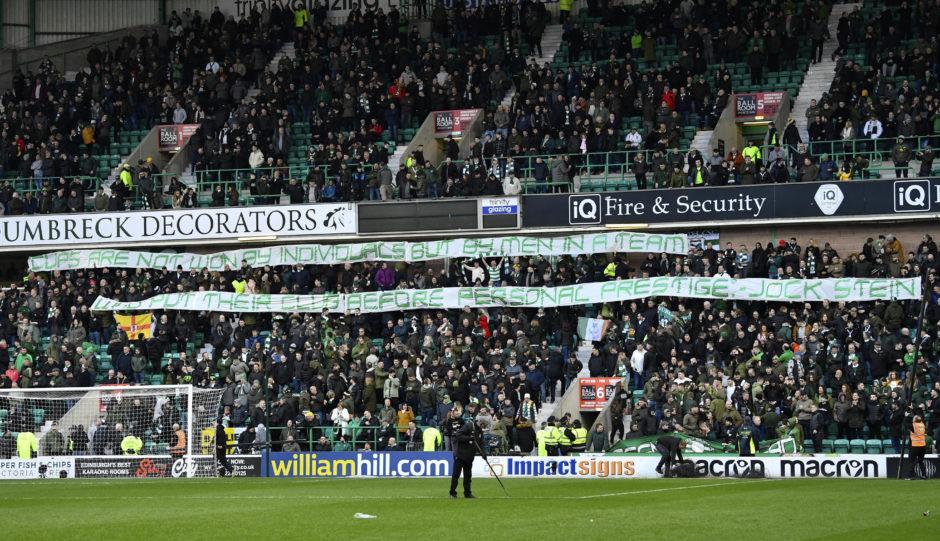 HIBERNIAN v CELTICEASTER ROAD - EDINBURGHThe Celtic fans unveil a banner to their former manager Brendan Rodgers