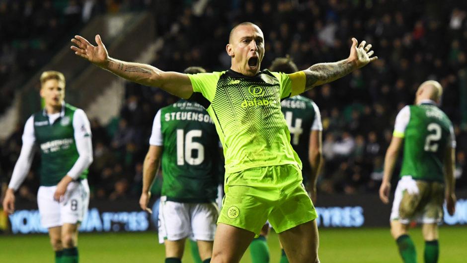 Celtic captain Scott Brown celebrates his goal