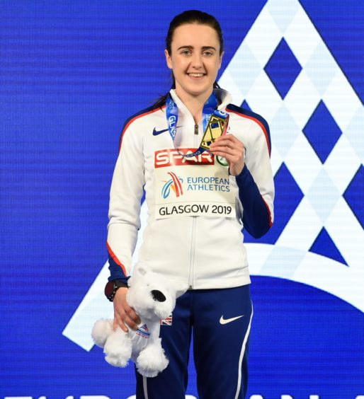 Great Britain&  Laura Muir celebrates after winning the Women's 1500m.