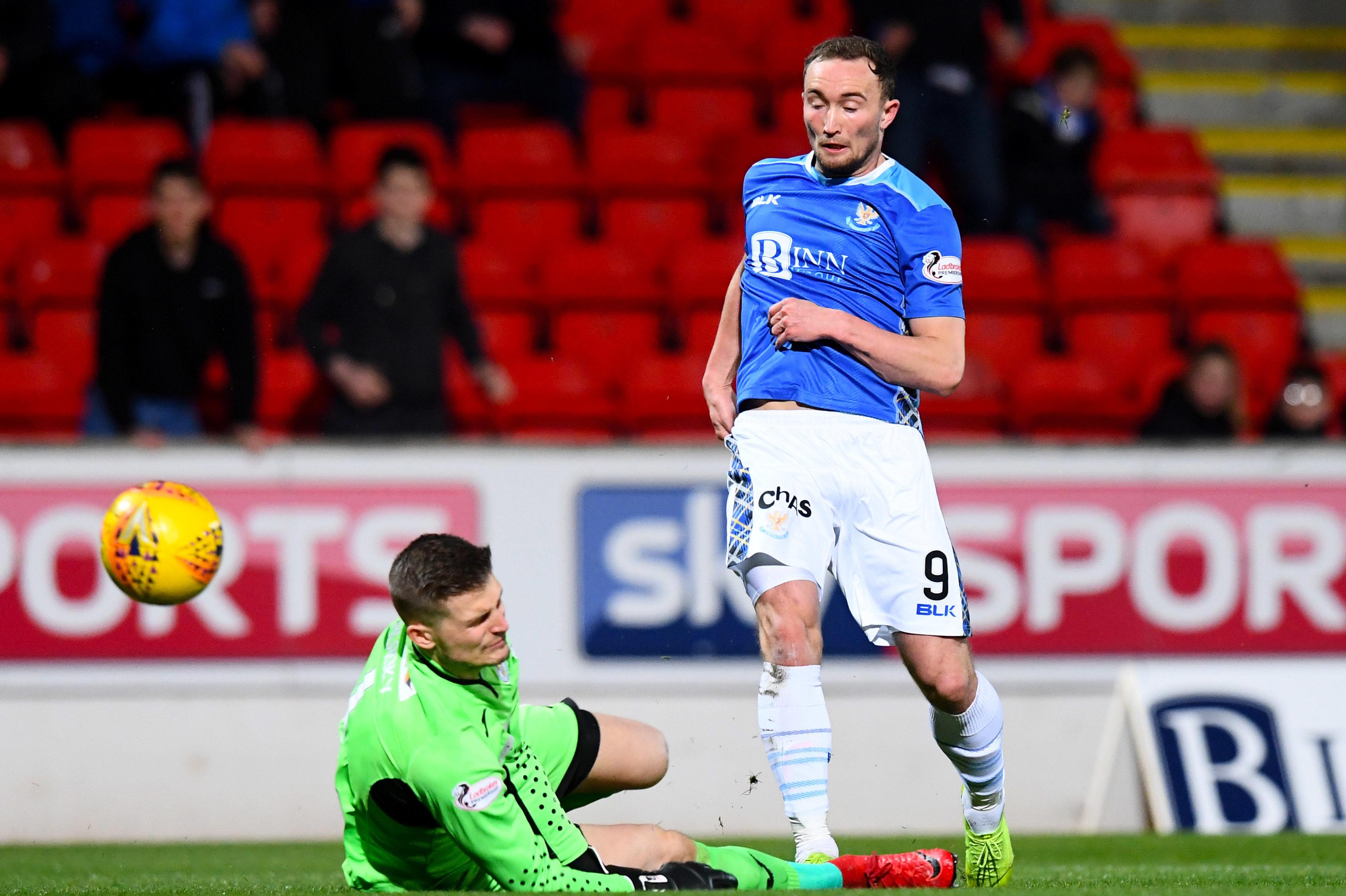 Chris Kane scores against St Mirren.