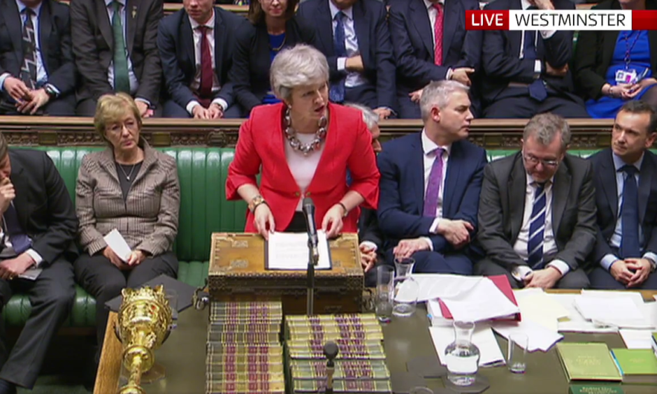 Theresa May makes a statement after confirmation that MPs have rejected her Brexit plans for a second time.