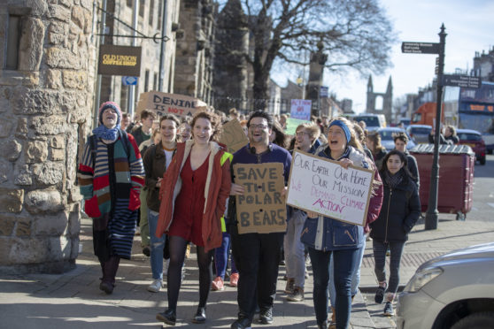 St Andrews Students joined in with the climate strike.