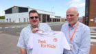 Montrose GSK site director Dr Les Thomson with Robin Nicolson