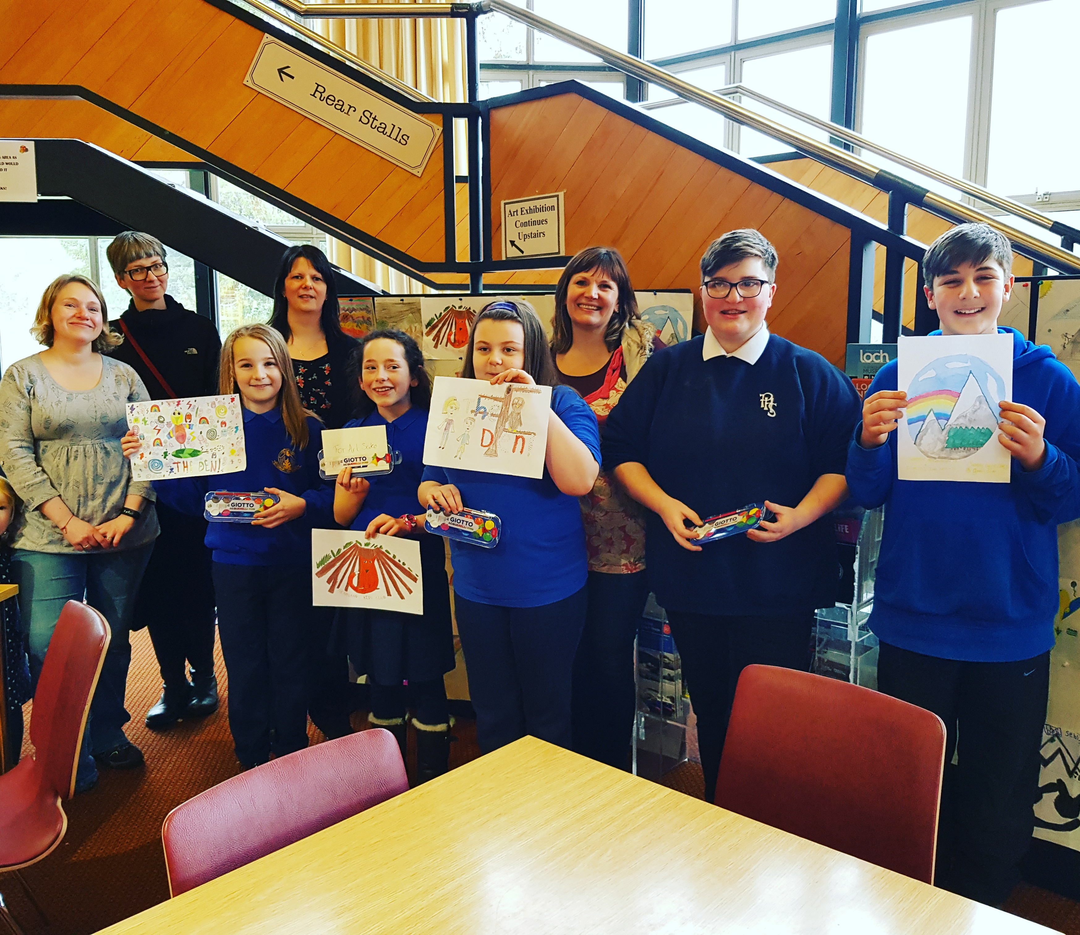Logo design competition winner Sophia Gonzalez Campbell with runners up, Orla Cronin, Caitlin Robertson, Dimitris Zaczek and Chantelle McCauley at Pitlochry Festival Theatre