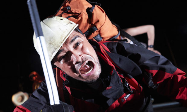 Josh Williams as Joe Simpson in Touching The Void.  Photo: Geraint Lewis