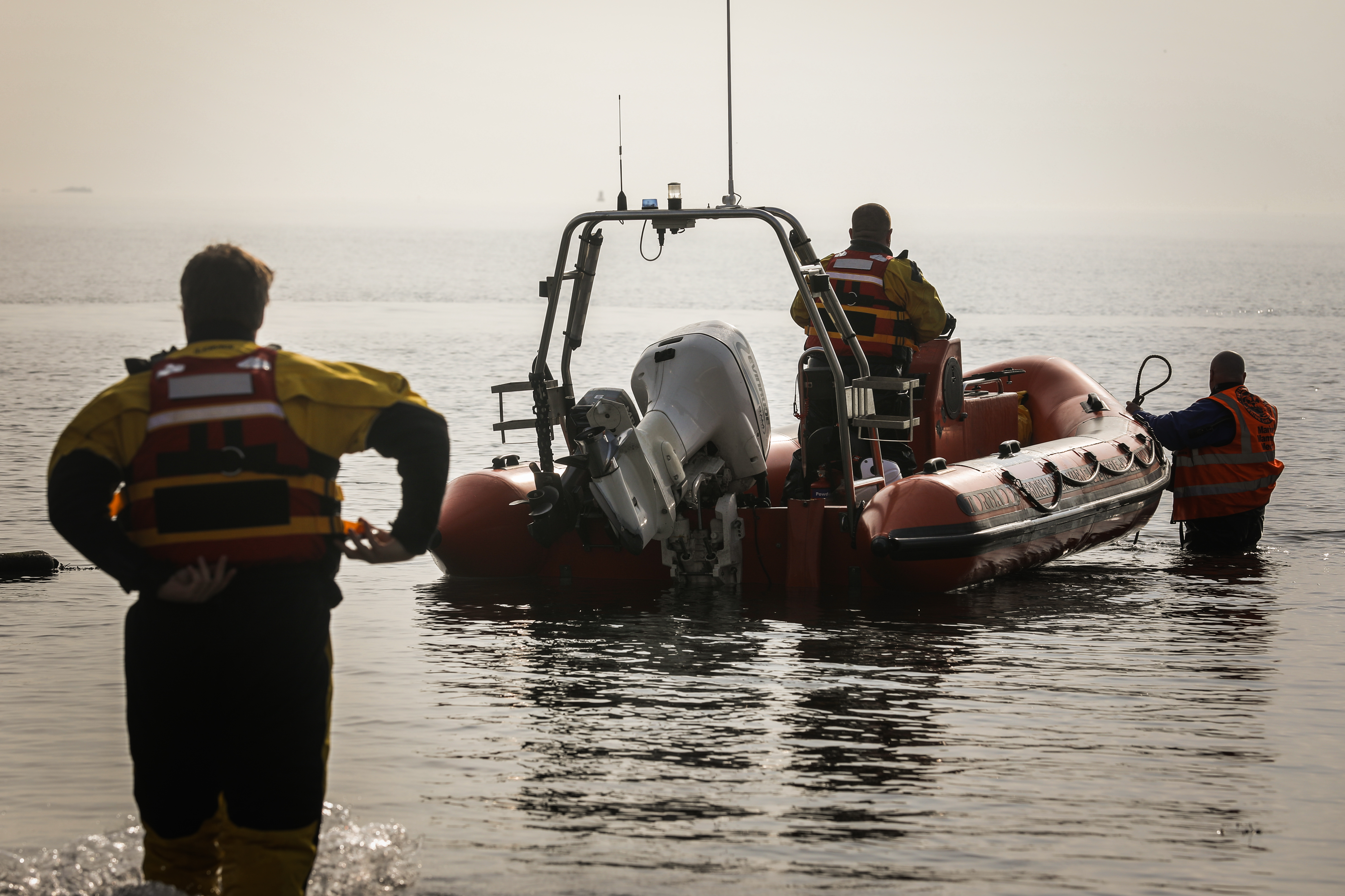 British Divers Marine Life Rescue on stand by at Kinghorn Harbour last week.
