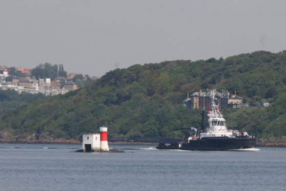 The Beamer Lighthouse at its former home in the River Forth.