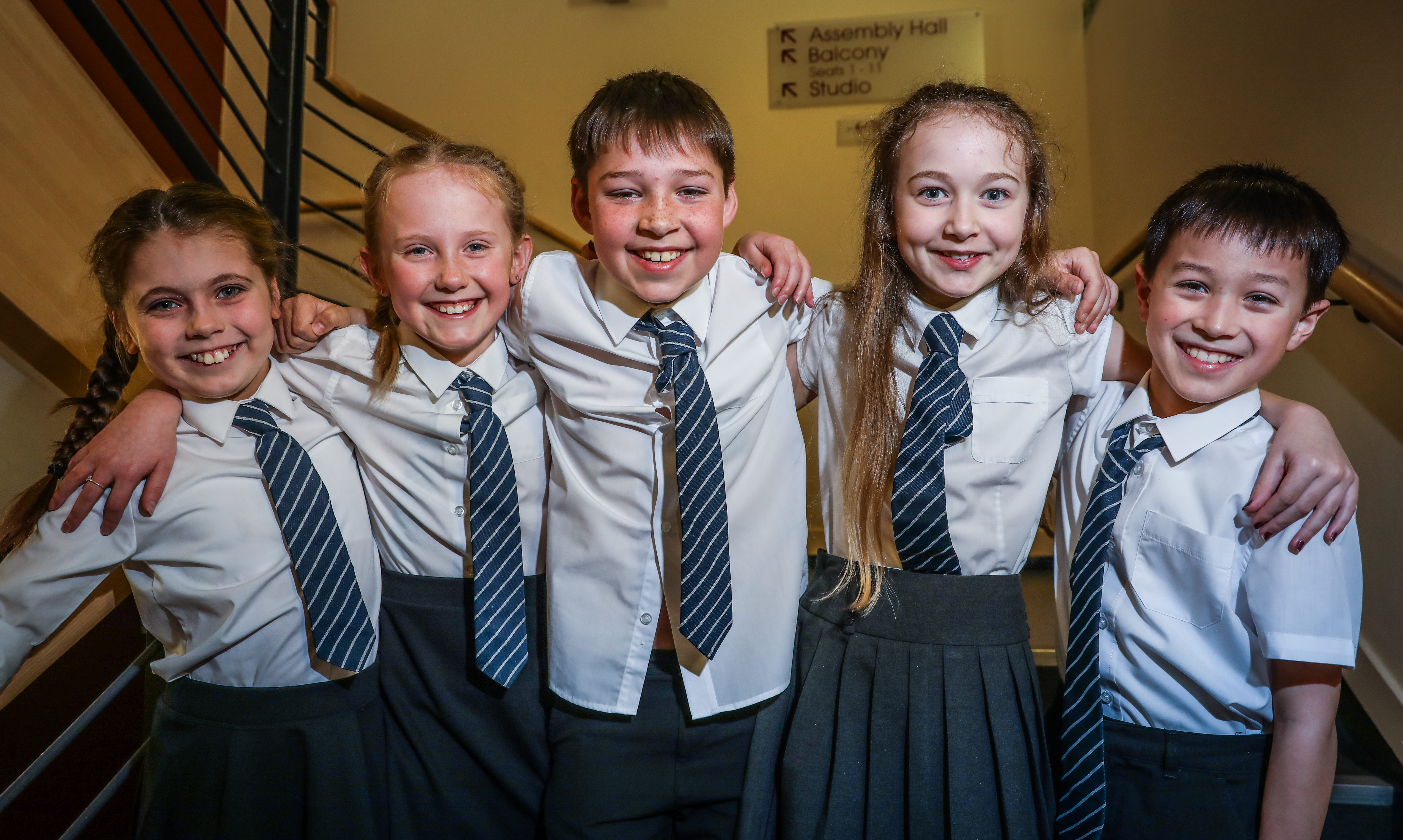 The pupils from Inverbrothock Primary School choir: L to r, Alanna Miller, Lara Jane Beattie, Max Cooper, Bailey Parcell and Elliot Lo.