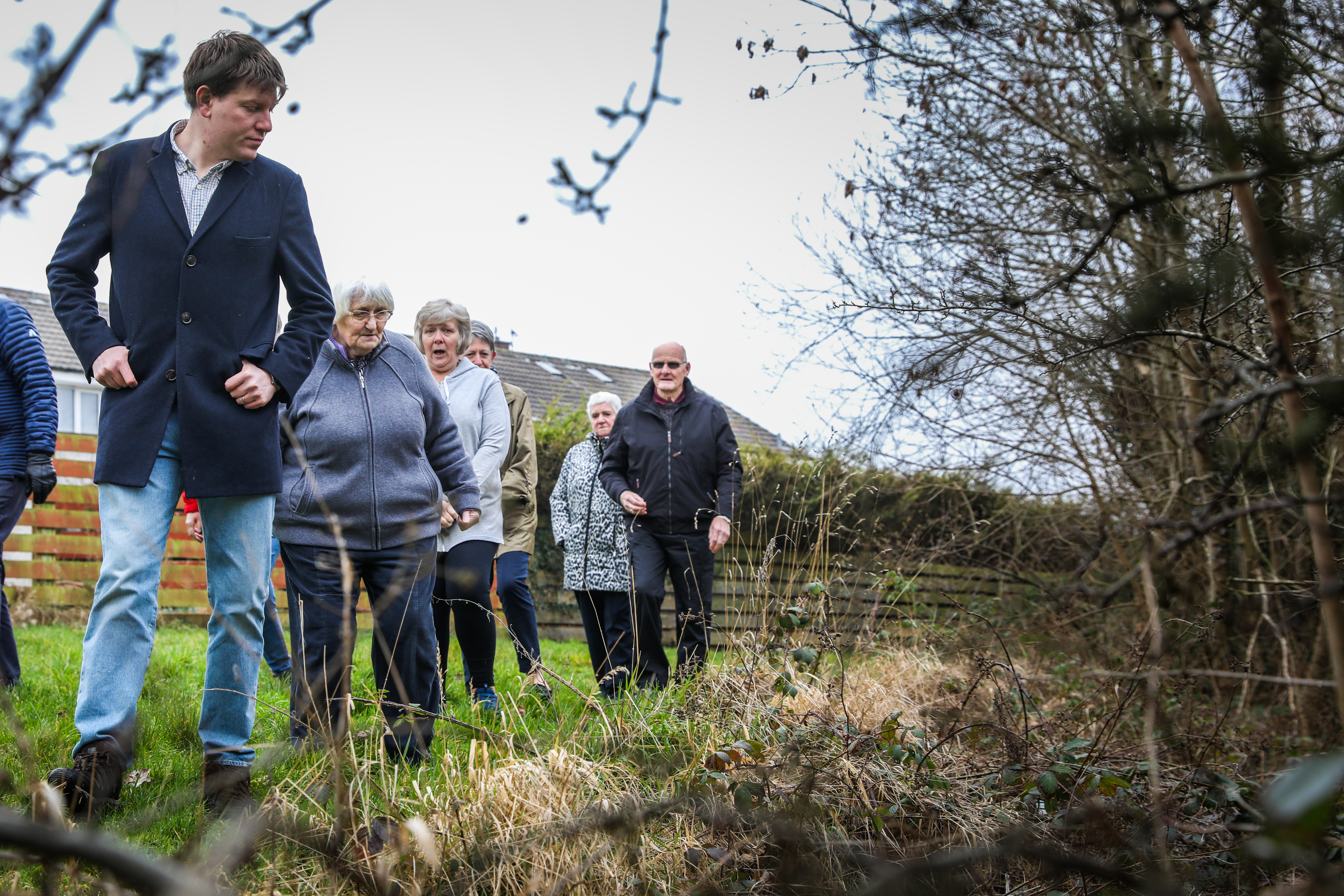 Local Lib Dem councillor James Calder with residents who have raised concerns about the burn.