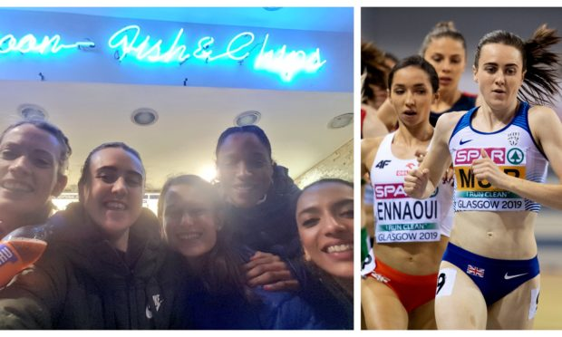 Laura Muir tweeted a photo from a Blue Lagoon fish and chip shop in Glasgow following her double gold medal performance.