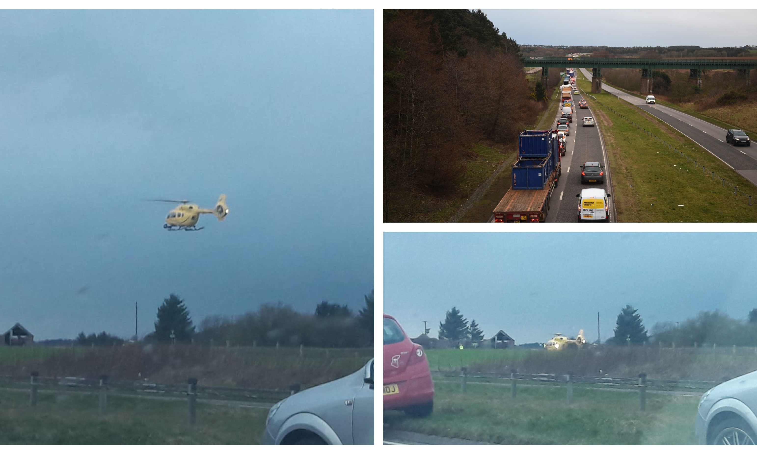 The air ambulance at the scene/traffic on the A90.