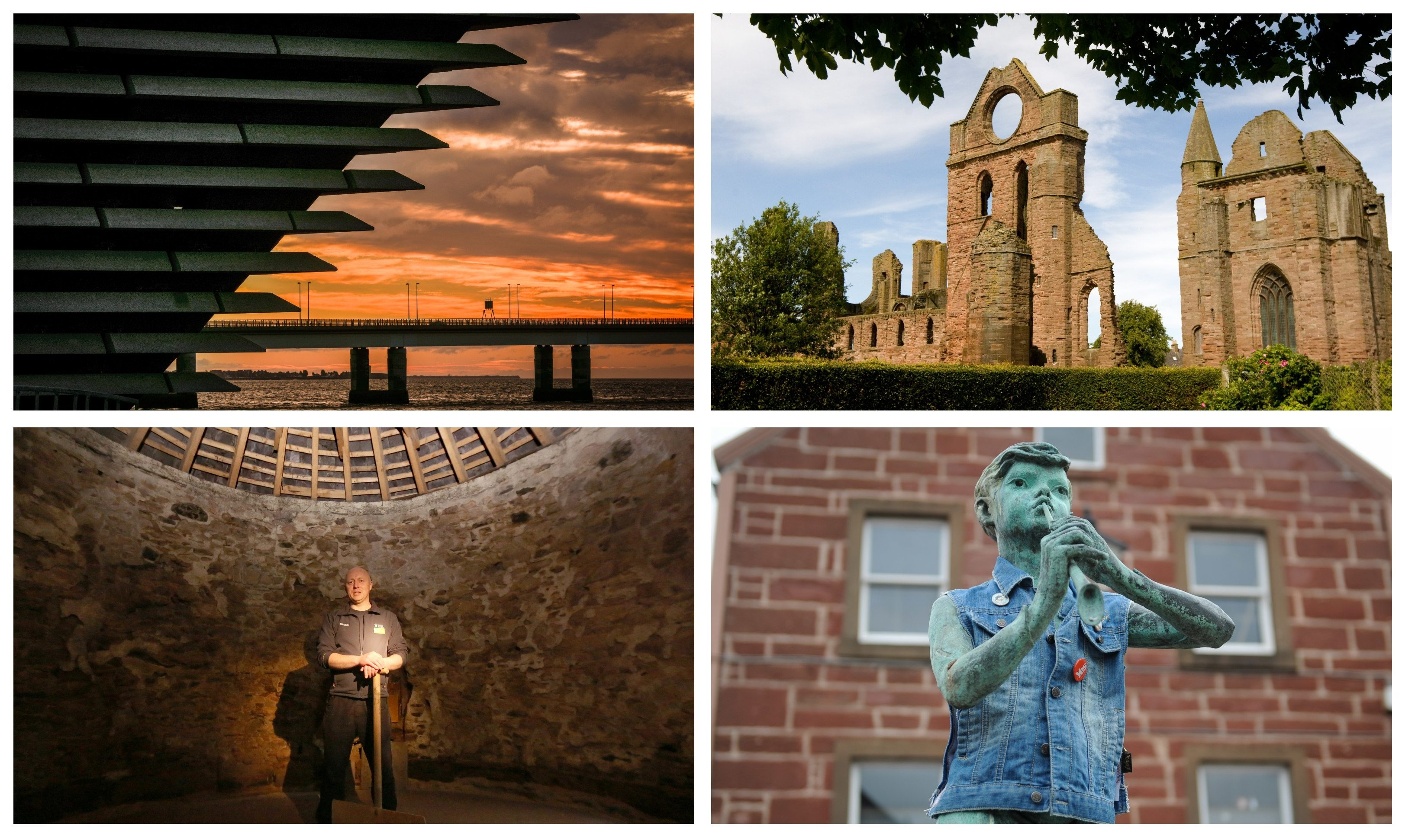 There has been a huge surge in visitor numbers to attractions across Dundee and Angus following the V&A's opening. Pictured: The V&A (top left) and some of the locations which have seen a boost in visitors - Arbroath Abbey (top right), Kirriemuir (bottom right) and Barry Mill (bottom left).