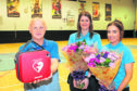 David thanks duty manager Lisa Lawrence (34) and leisure attendant Rebecca Hutchison (18)
