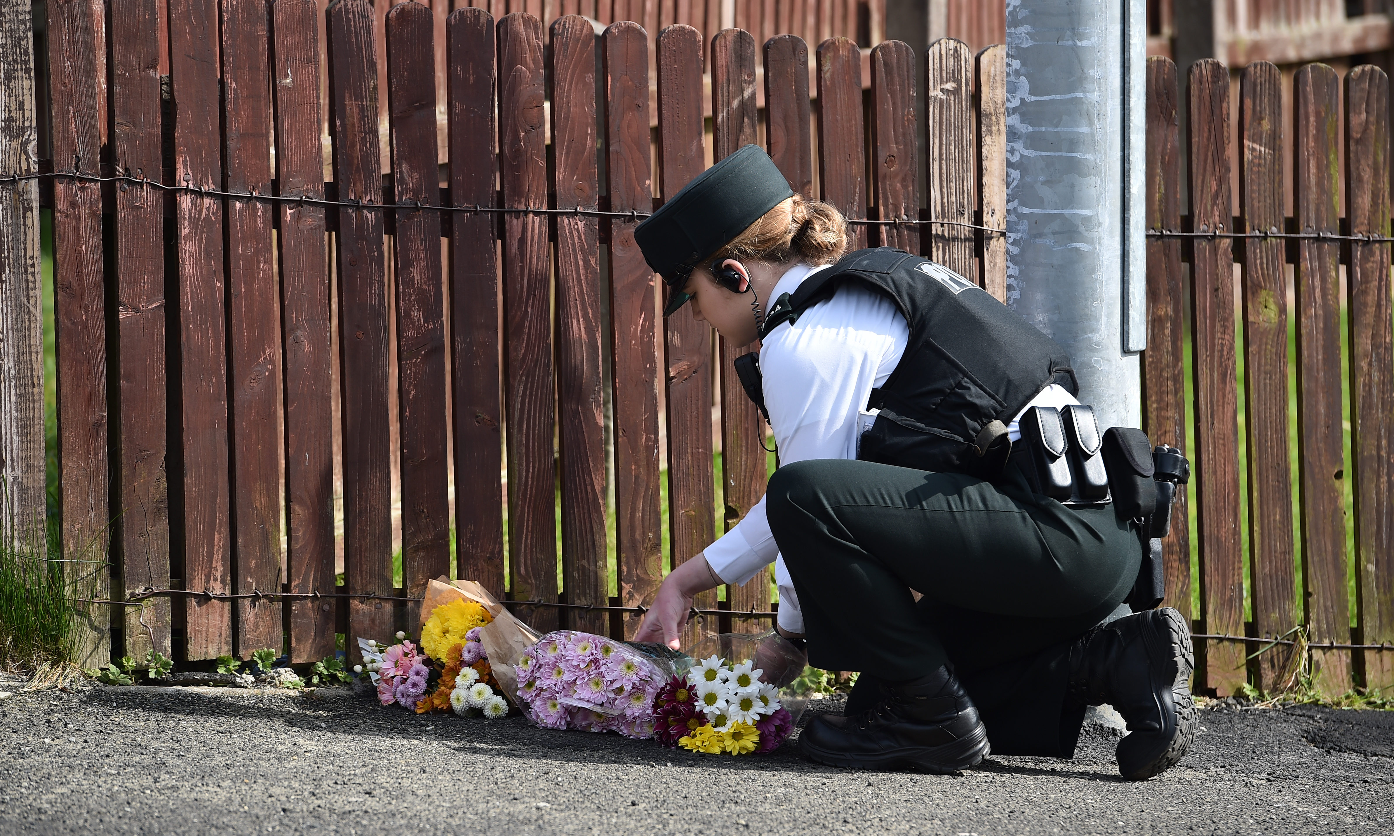 Police attend the scene of a shooting, in which journalist Lyra McKee was killed, on Fanad Drive on April 19, 2019 in Londonderry, Northern Ireland.