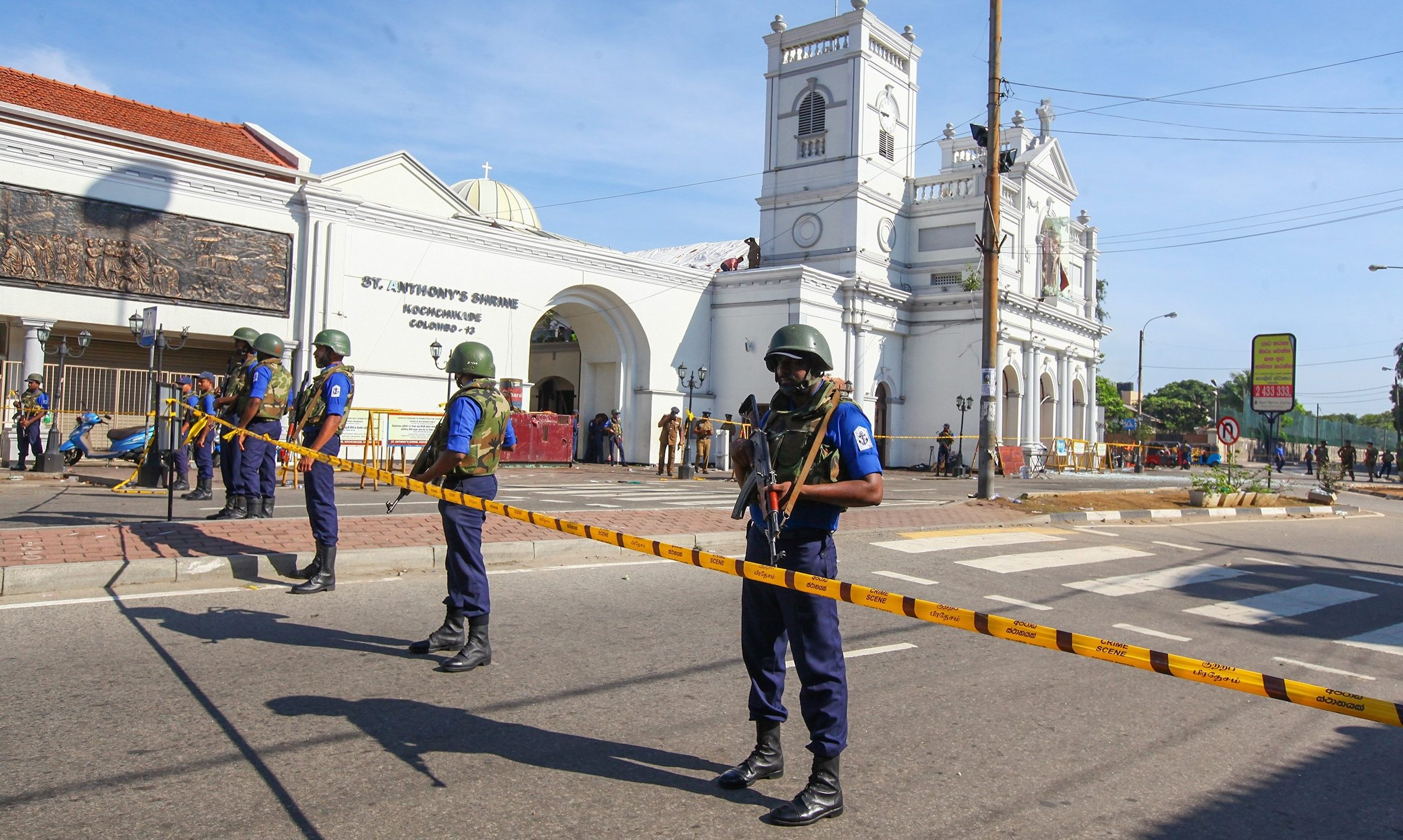 Sri Lankan soldiers stand guard in front of the St. Anthony's Shrine a day after multiple explosions targeting churches and hotels across Sri Lanka, in Colombo, Sri Lanka.