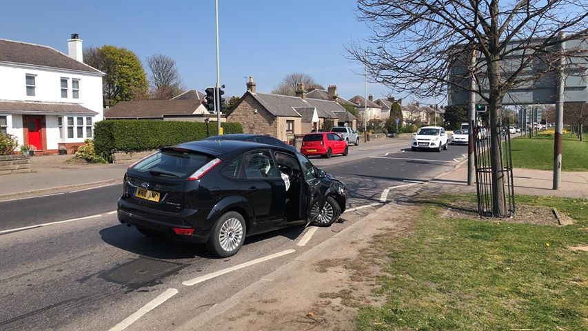 The crashed car on Arbroath Road