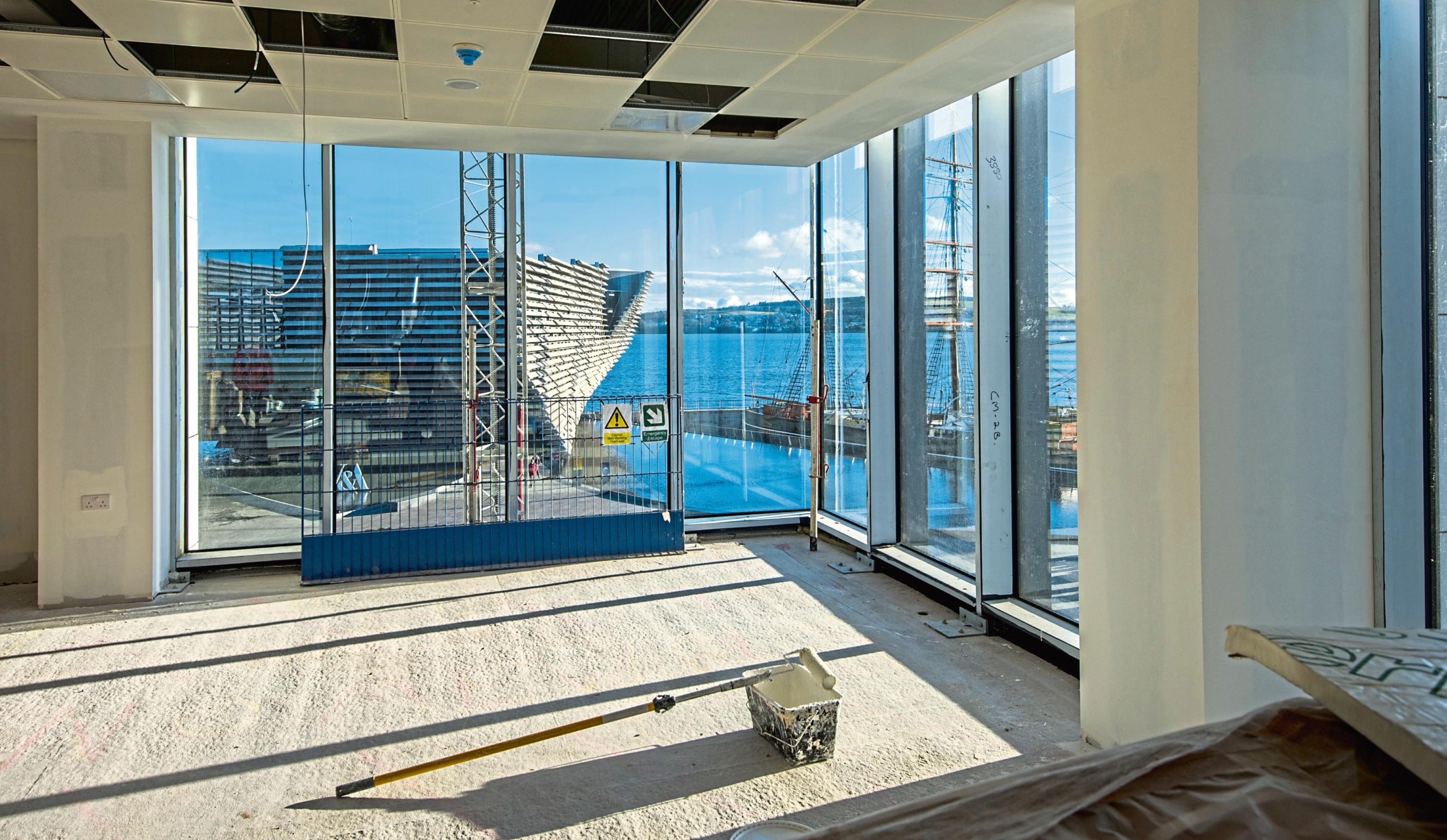 The view from an office within the Earl Grey building at Dundee's waterfront.