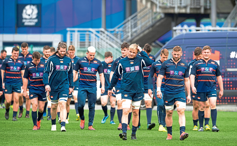 23/04/19 EDINBURGH RUGBY TRAINING BT MURRAYFIELD - EDINBURGH Edinburgh's Rugby's Luke Hamilton and John Barclay