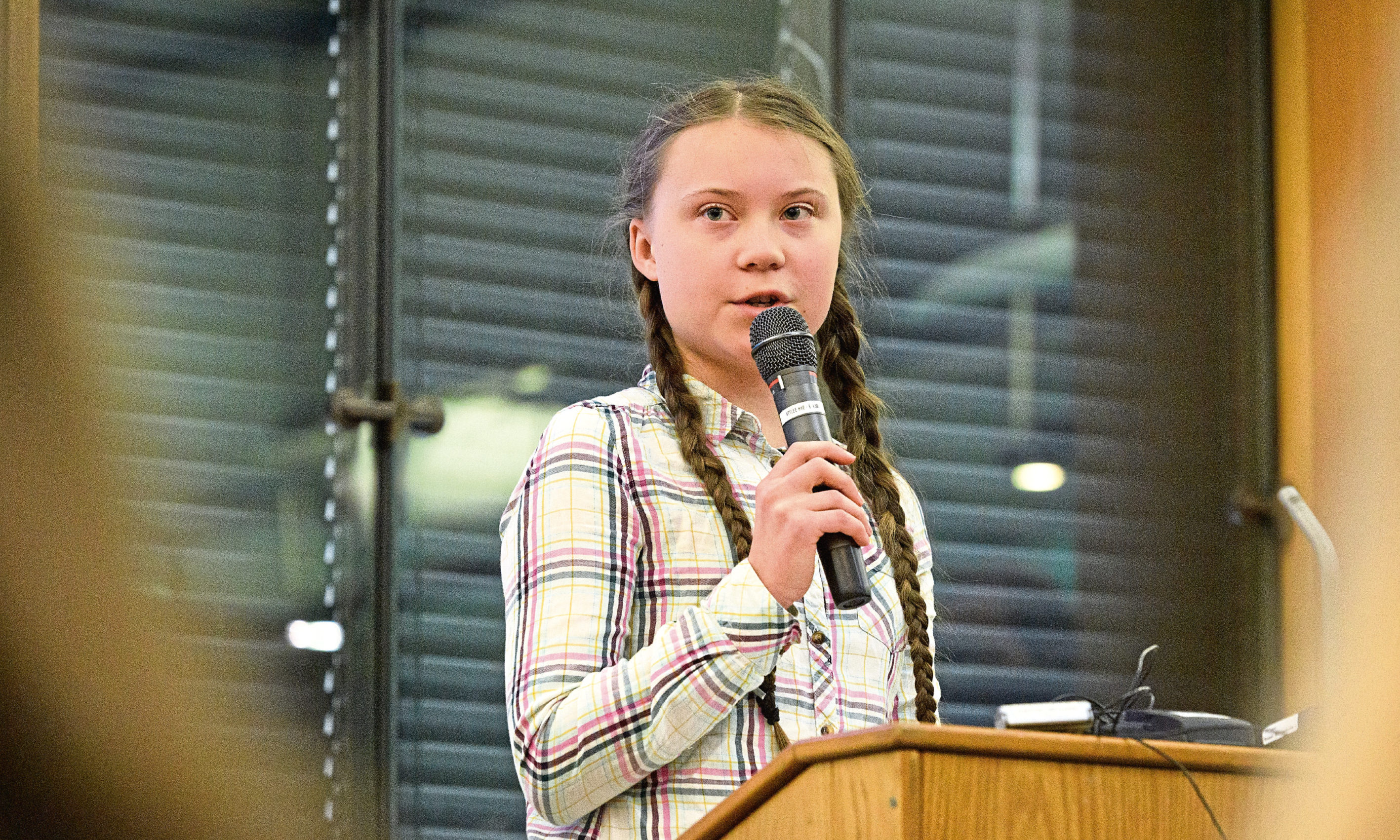 Swedish environmental campaigner Greta Thunberg addresses politicians, media and guests with the Houses of Parliament on April 23.