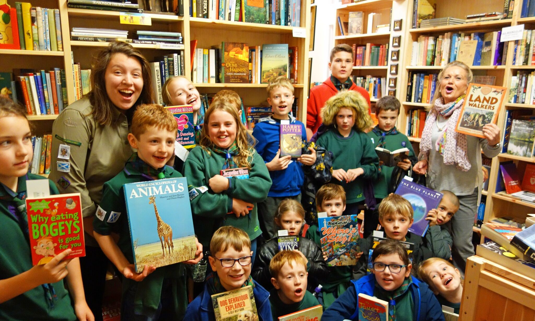 Cubs from the 1st Perthshire (Pitlochry) Scout Group visiting Pitlochry Station Bookshop