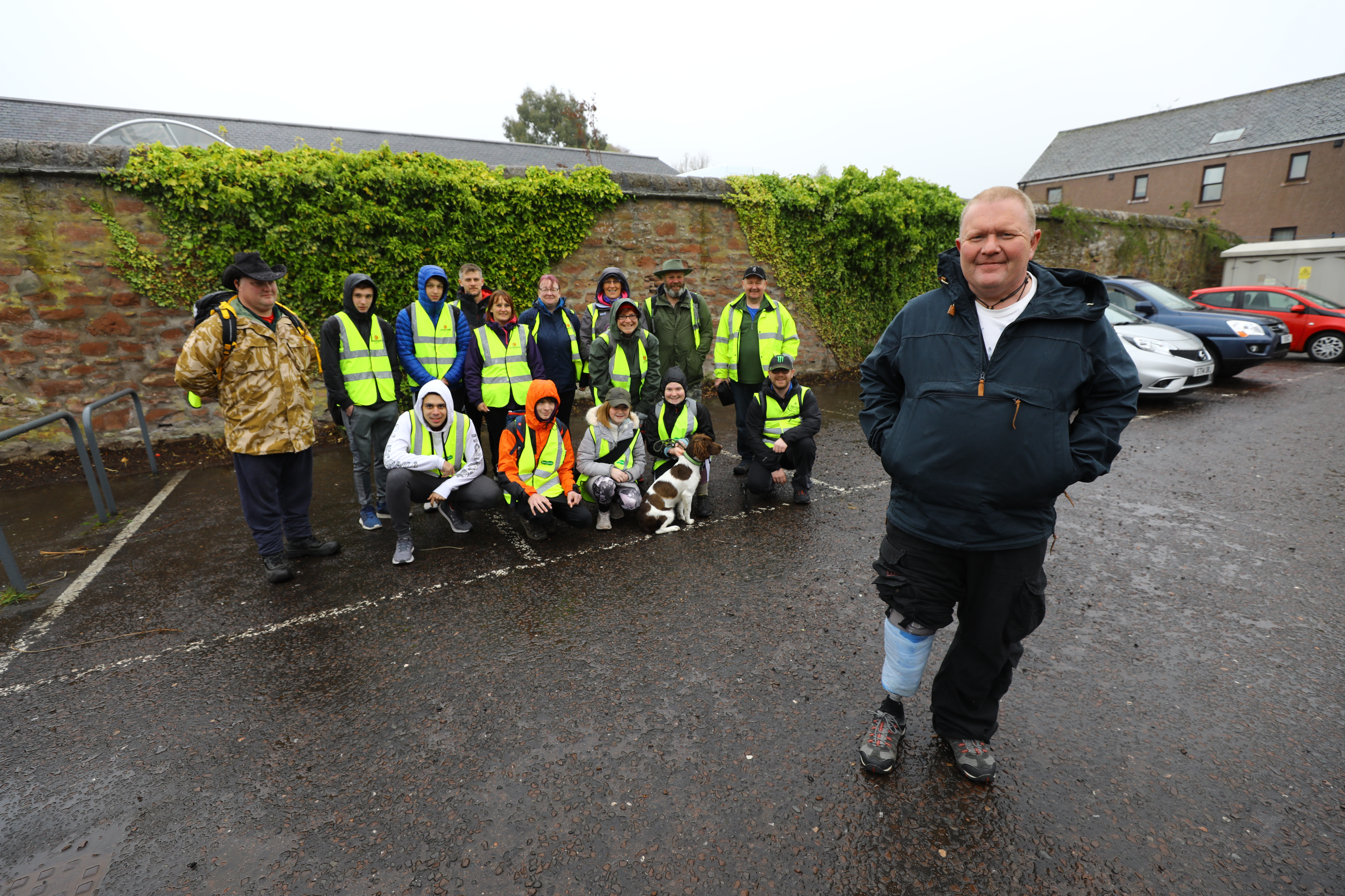 Iain Wallace with the charity walkers about to set off from Kirrie