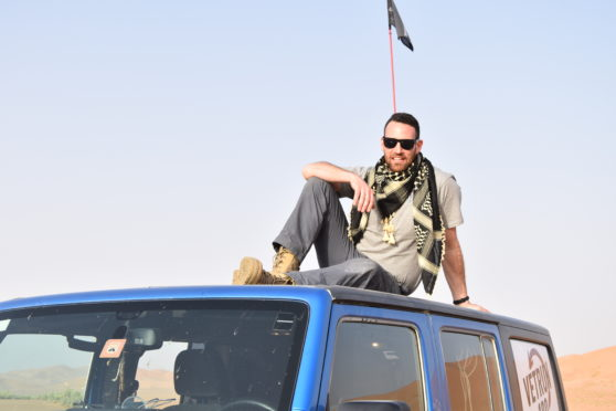 Ex-soldier John Clark in the desert in Oman