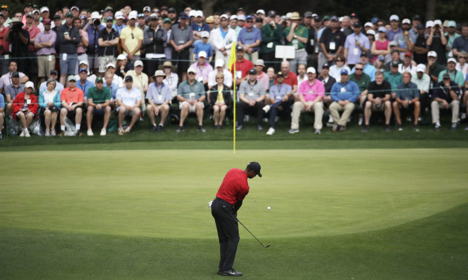 Tiger Woods hits to the fourth green.