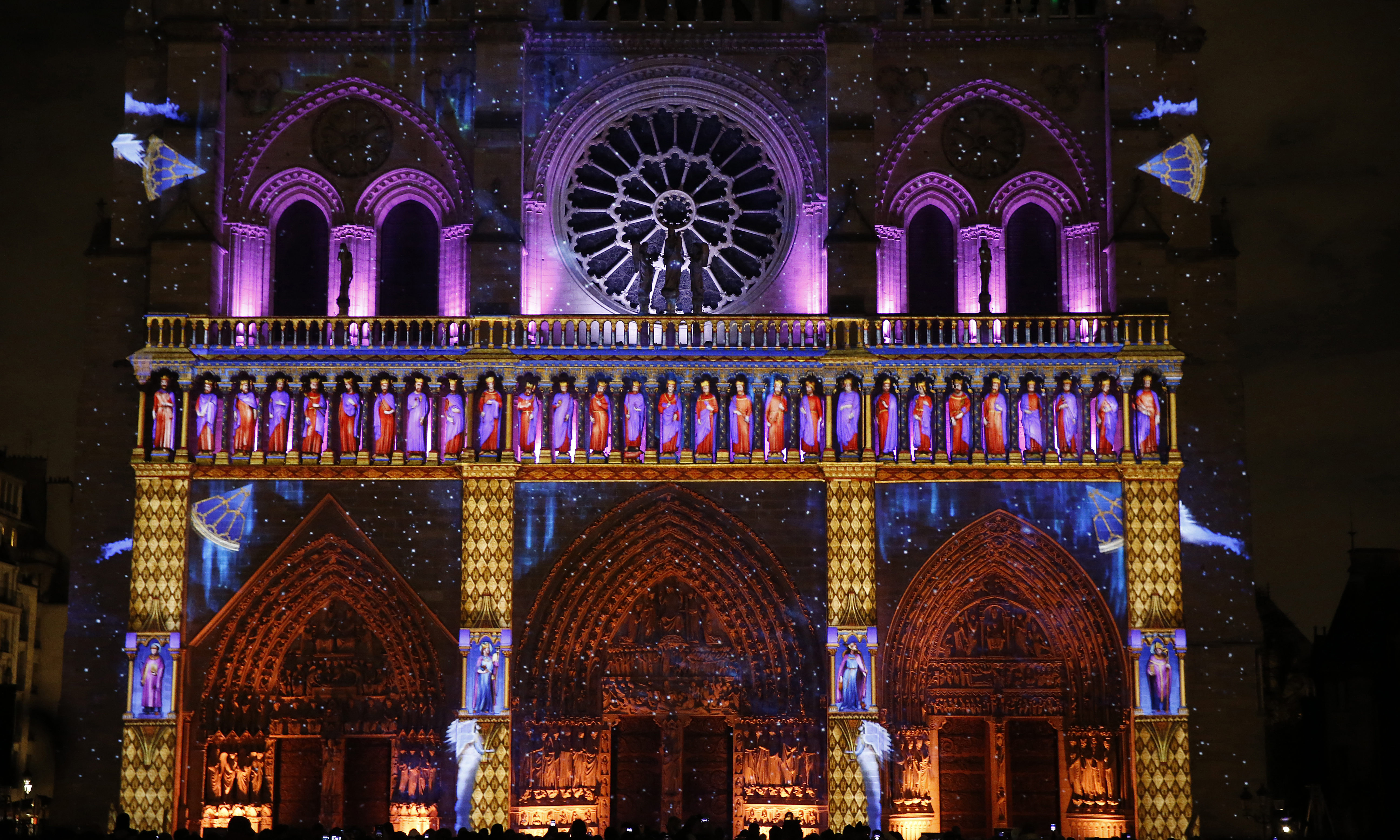Sound and light show at Notre Dame de Paris cathedral, France.