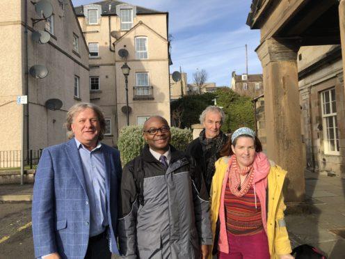 David Torrance, Patrick Nyamurundira (Transport Scotland), and local campaigners Chris Hill and Lizzie Cass-Maran