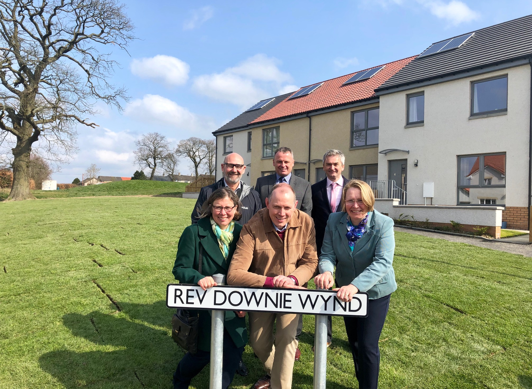 Front row: the Rev Downie's children Margaret Gordon, Dr Alexander Downie and Allison MacNeill. Back row: Bill Banks (Kingdom), Dougie Herd (Campion Homes) and Moray Royles (City Architecture)