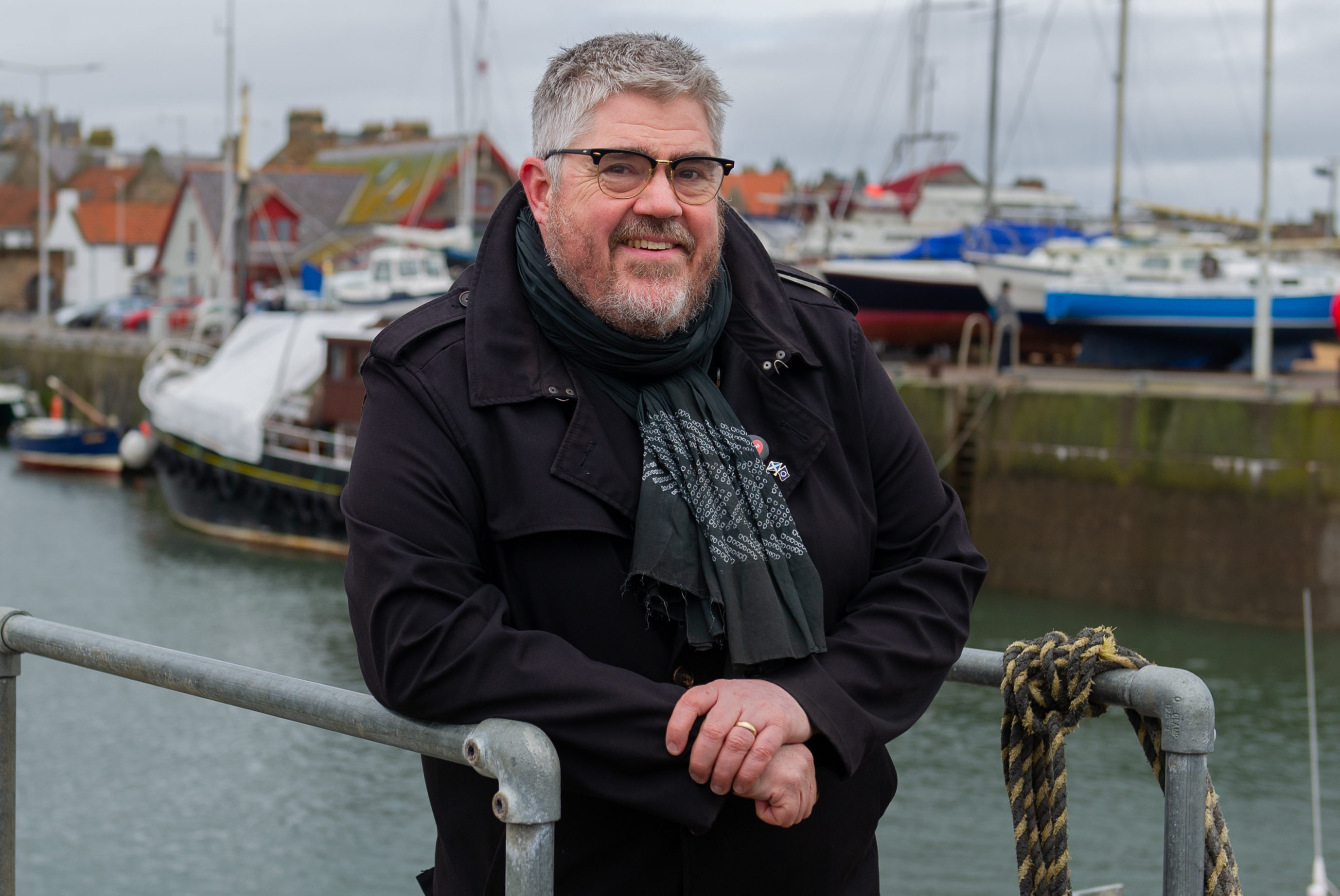 Phill Jupitus at Anstruther Harbour