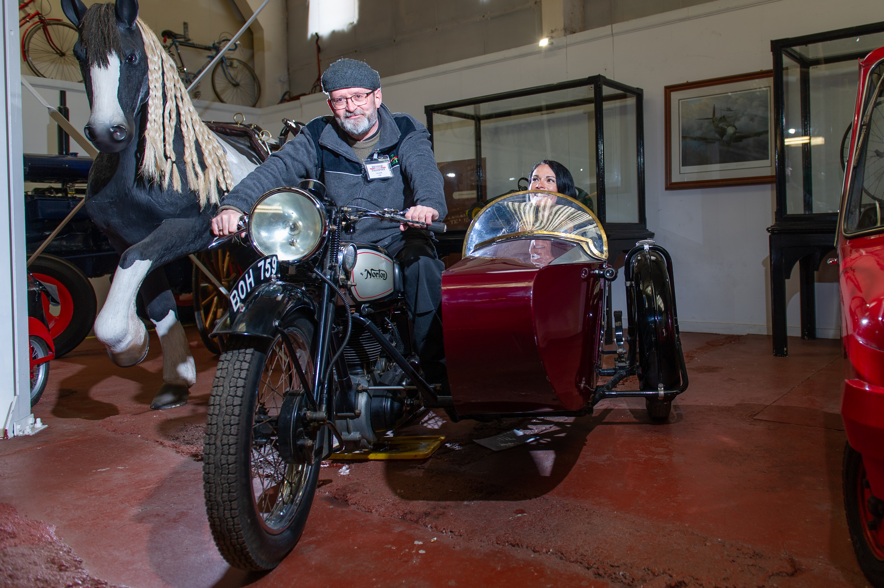 Chris Rose and Gayle on a Norton sidecar combo at Dundee Museum of Transport.