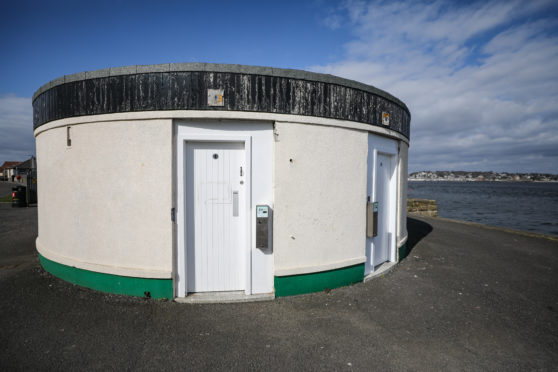 General view of the exterior of public toilets at Tayport Harbour.