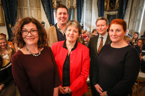 Conference speakers included, from left, Prof Sally Shortall, Steven Mitchell, Women in Agriculture chairwoman June Geyer, Lord Charles Bruce and Aylett Roan. Picture: Kris Miller.