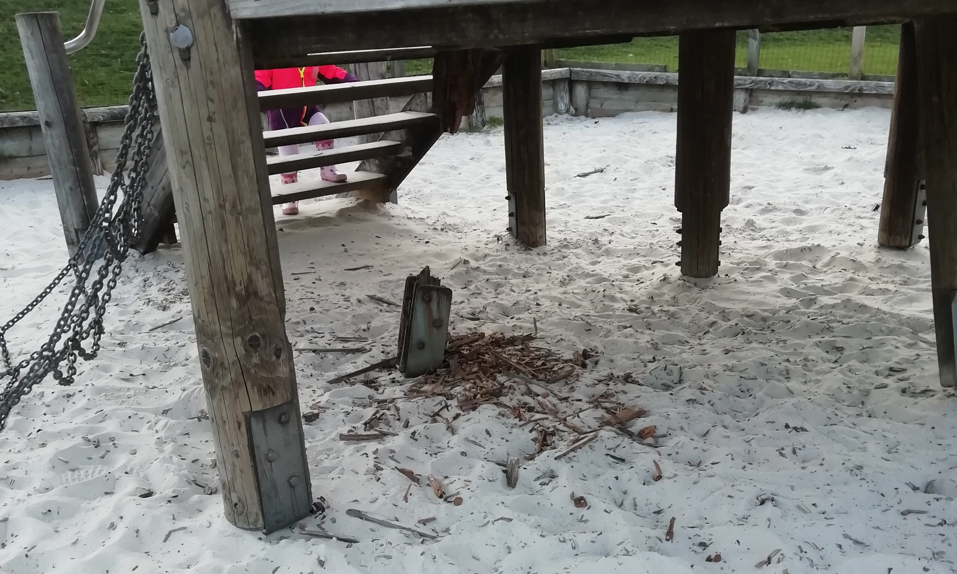 The rotten play equipment in the park