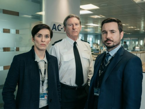Picture Shows:  Kate (VICKY MCCLURE), Hastings (ADRIAN DUNBAR), Steve (MARTIN COMPSTON). Picture: BBC.