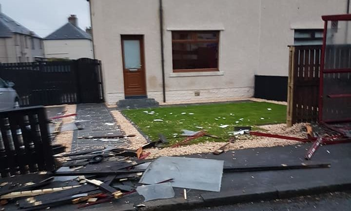 Kevan Fleming's garden in Lumphinnans Road was trashed by the out-of-control car