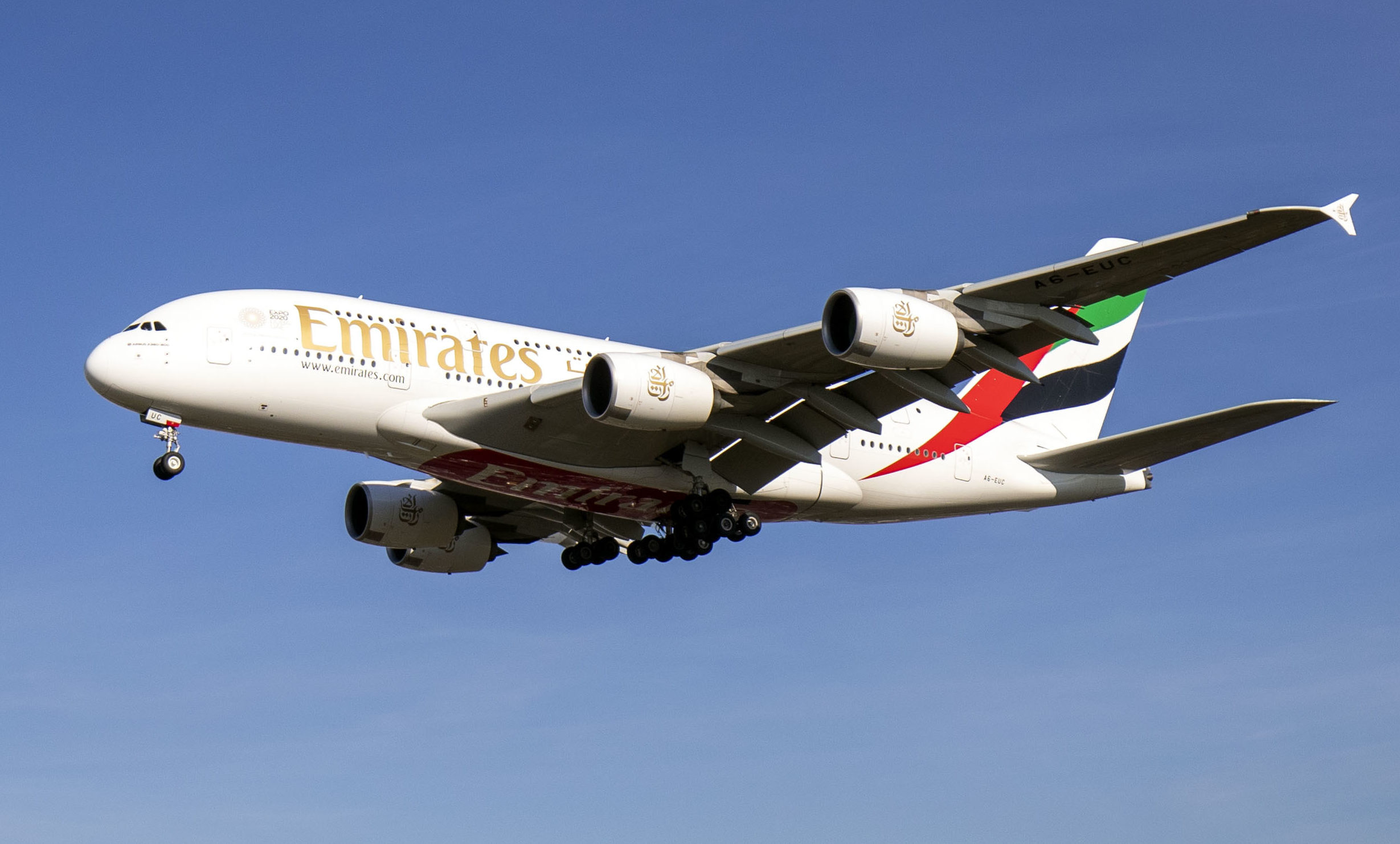 An Emirates Airbus A380.