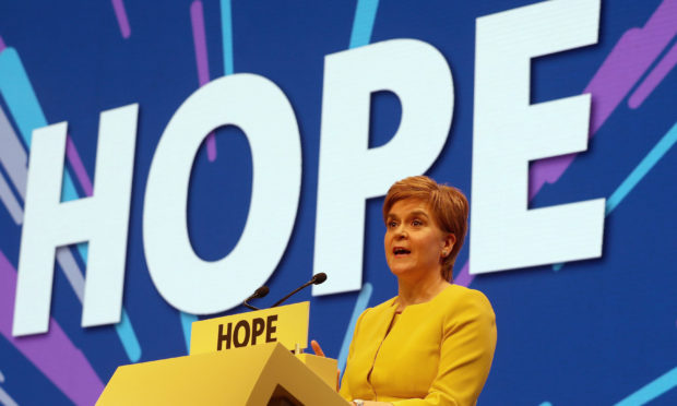 First Minister of Scotland Nicola Sturgeon speaks during the SNP spring conference at the EICC in Edinburgh.