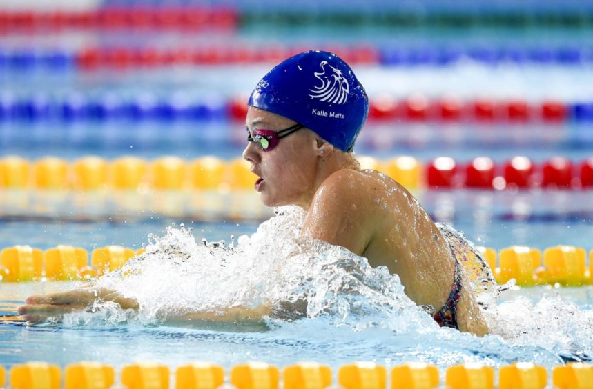 Katie Matts competing in Heat 6 of the Women's 200m Breaststroke.