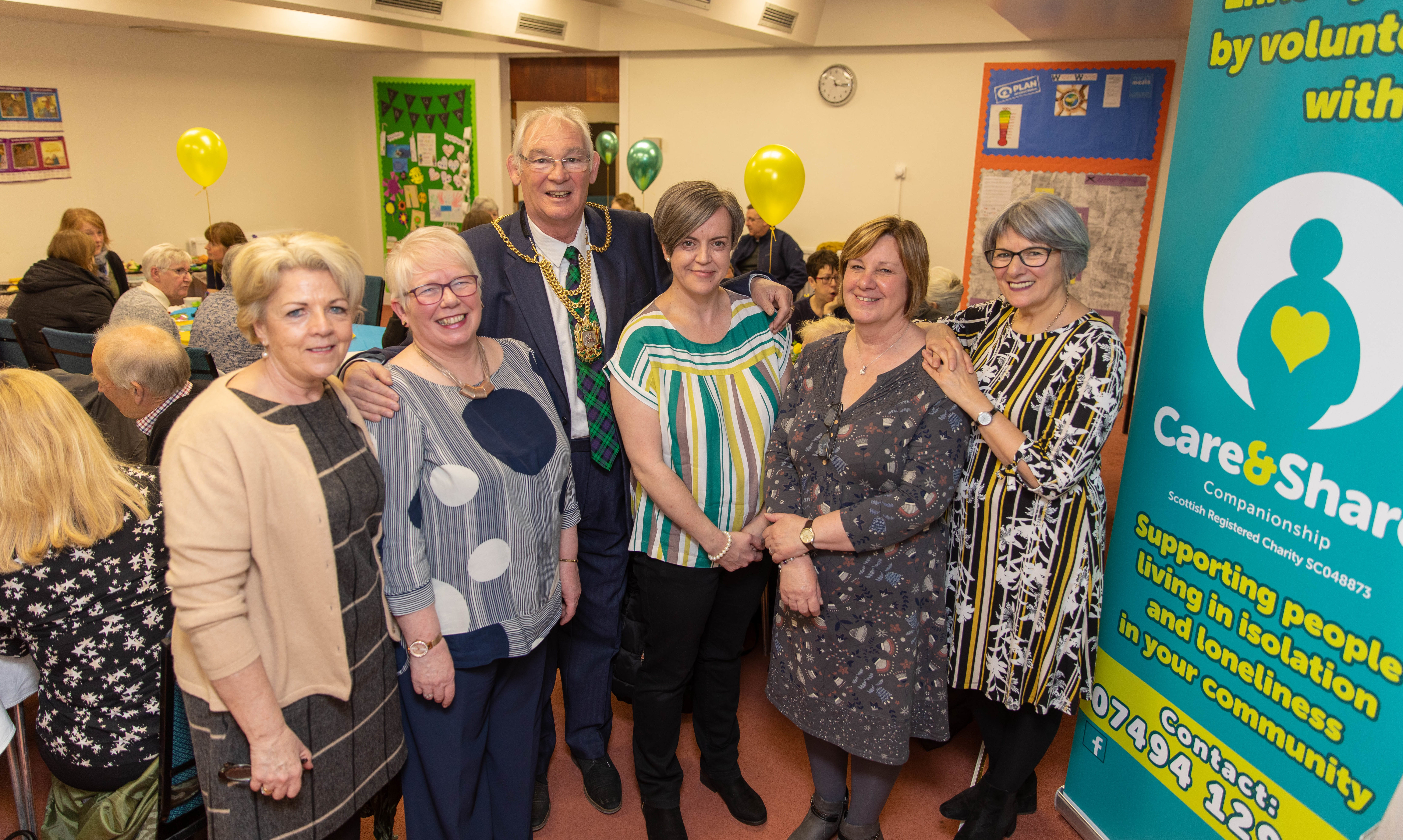 Eileen SPence, Angela Brown, Provost Jim Leishman, Janet Milligan and Teresa Naylor at the Care and Share Companionship launch in Kirkcaldy.