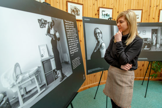 Louise Radcliffe of Fife Violence Against Women Partnership at an exhibition on domestic abuse in Rosyth.