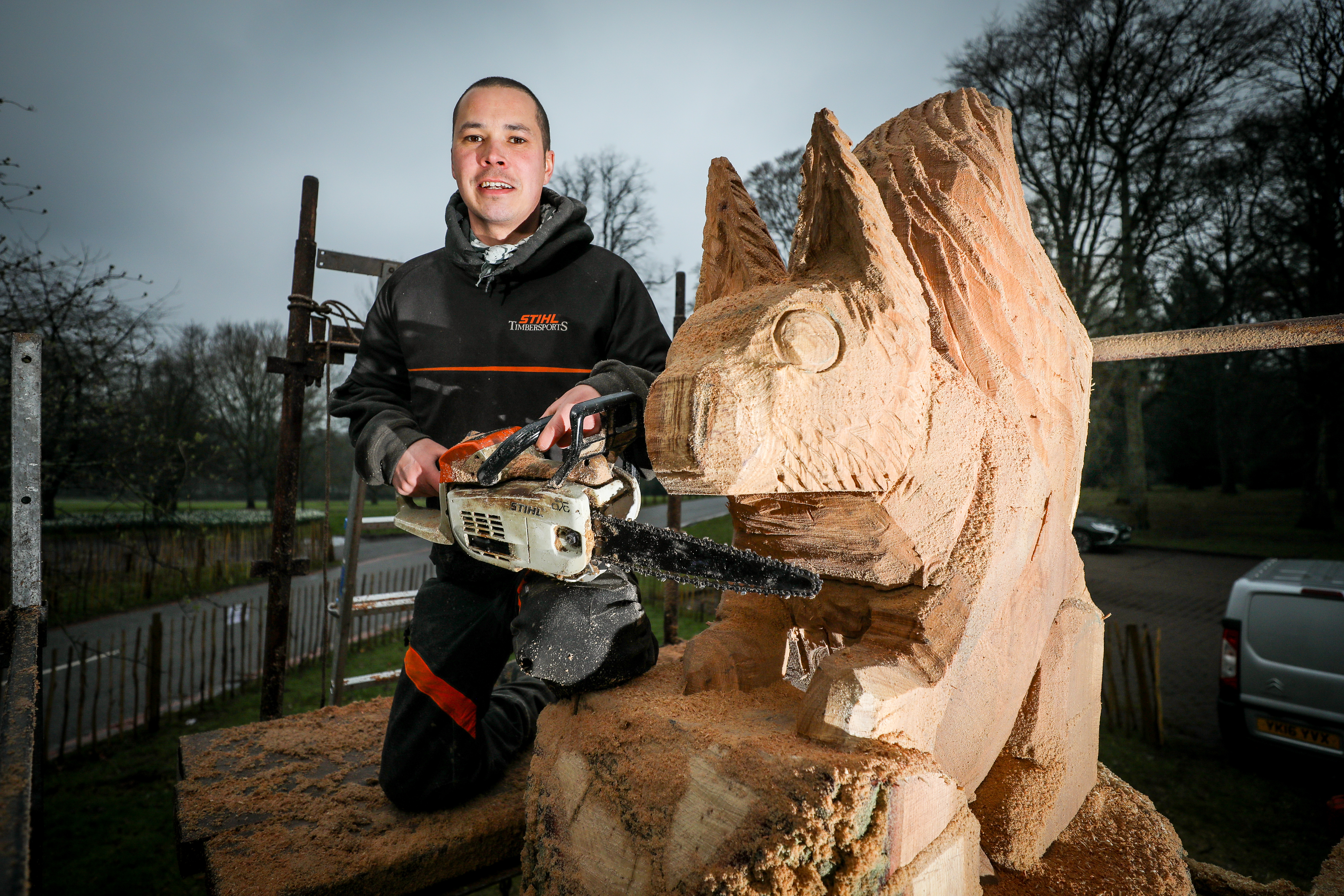 Tom Harris-Ward with the sculpture at Camperdown Park.